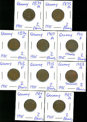Germany- 1874-1875-1876-1907-1911-1912-1913-1923-1924-1925- 2 Pfennig - 10 Coins