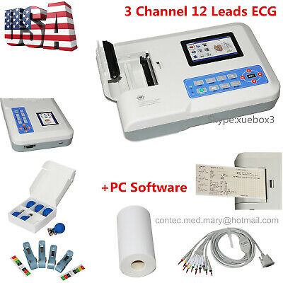 USA 3 Channel 12 lead ECG Machine PC Software ECG300G Electrocardiograph CONTEC