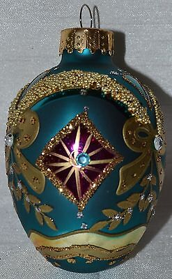 Glass Egg Ornament~Metallic Aqua Blue~Red~Gold~Christmas~Holiday~Easter~Tree~NEW