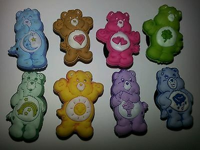 CARE BEARS 8pc SHOE CHARMS LOT SET FOR CROC SHOES JIBBITZ BRACELETS CARTOONS