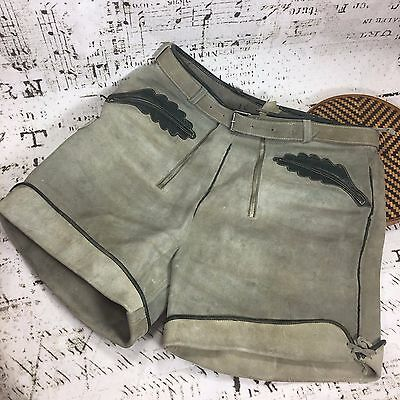 Authentic German Lederhosen Vintage Olive Green Suede Leather Octoberfest Adult