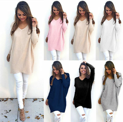US Womens V-Neck Sweater Jumper Oversized Baggy Comfy Pullover Long Tops Outwear
