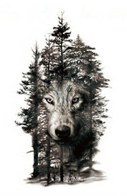 Waterproof Temporary Fake Tattoo Stickers Grey Forest Wolf Animals Large