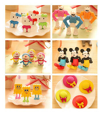 2PCS Chic Cute Adorable Cartoon Rubber Eraser Pencil Stationery Children Gift