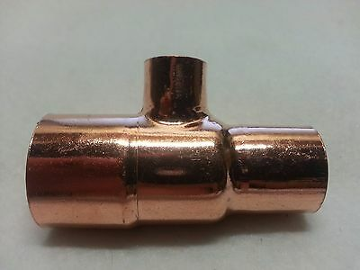 "1"" x 3/4"" x 1/2""  (1 x 3/4 x 1/2) Copper Sweat Solder Pressure Tee Fitting New"