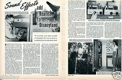 1956 2 Page Print Article of Sound Effects Add Realism to Disneyland