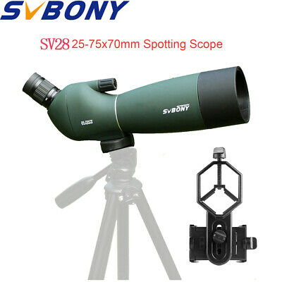 New SVBONY 25-75x70mm Angled Zoom Spotting Scope Waterproof+Cell Phone Adapter
