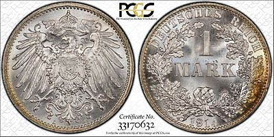 Silver 1914-A Germany Empire 1 Mark PCGS MS66+ Gem BU Uncirculated UNC Coin