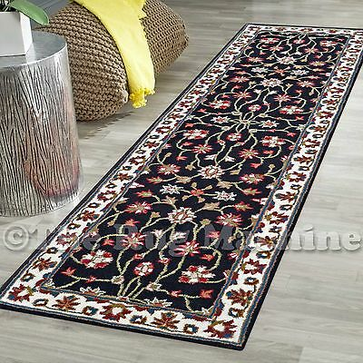 MADISON THICK WOOL BLACK HANDWOVEN TRADITIONAL DESIGN RUG RUNNER 80x300cm **NEW*