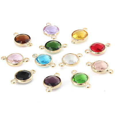 10pcs Crystal Birthstones Gem Charms Connector Double-Side DIY Jewelry 10mm