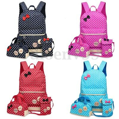 3Pcs Women Girls Backpack Shoulder School Bag Travel Rucksack Satchel Handbag AU