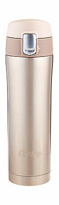 LifeSky Stainless Steel Insulated Travel Coffee Mug 16 oz Champagne New