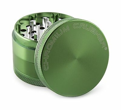 """Chromium Crusher 2.2"""" 4 piece Coffee Spice Tobacco Herb Grinder with Life... New"""