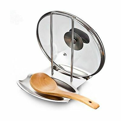 Stainless Steel Pan Pot Cover Lid Rack Stand Spoon Rest Stove Organizer S... New