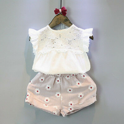 UK STOCK Summer Kids Baby Girls Outfits Lace Tops+Short Floral Pants 2PCS Set