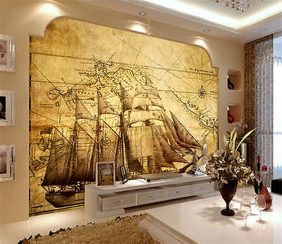 Live Piracy Map Ship Full Wall Mural Photo Wallpaper Print Kids Home 3D Decal