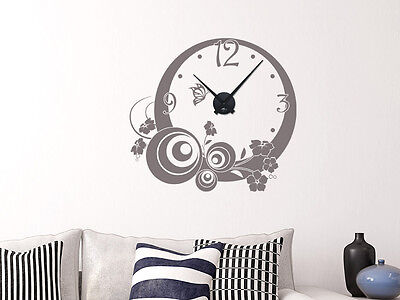 wandtattoo uhr mit uhrwerk wanduhr wohnzimmer ornamente design zahlen eur 39 95 picclick de. Black Bedroom Furniture Sets. Home Design Ideas