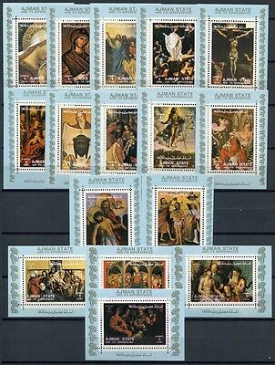 Ajman 1973 Religiöse Gemälde Paintings Religion 2797-2812 Blocks MNH