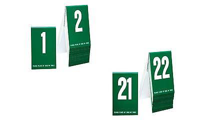 Plastic Table Numbers 1-40- Green w/ white number, Tent style, Free shipping