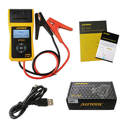 AUTOOL BT-660OBDII Car Battery Tester with Built-in Printer for Flooded AGM GEL