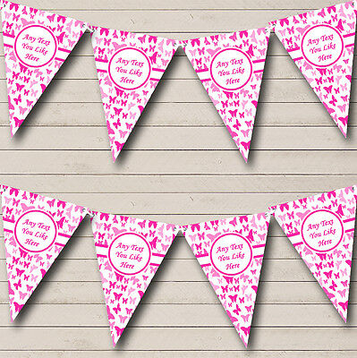Beautiful Hot Pink Butterfly Shabby Chic Garden Tea Party Bunting Banner