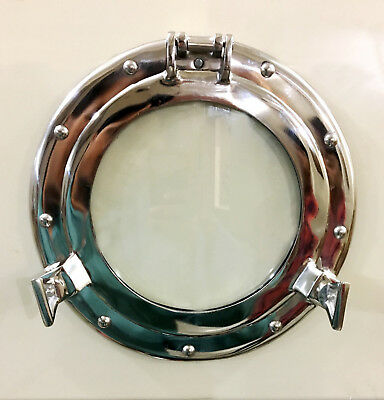 "11"" Aluminum Porthole Window~Ship Boat Port Hole Round with Glass Wall Decor"