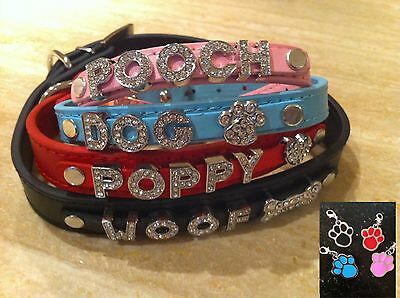 Genuine/real Leather Crystal Personalised Dog/puppy Collar/lead Xs-Xl-Uk Seller!