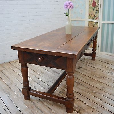 8 Seater French Antique Oak Refectory Farmhouse Dining Table with Drawers