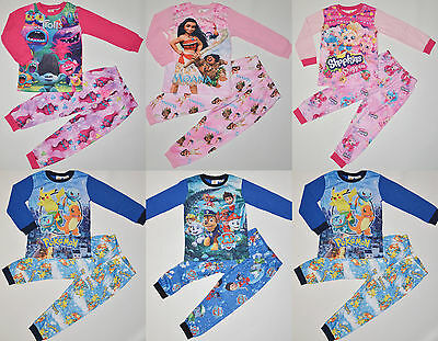 Boy & Girl Shopskins Paw Patrol Moana Trolls Pokemon Winter Pyjamas pjs Size 1-7