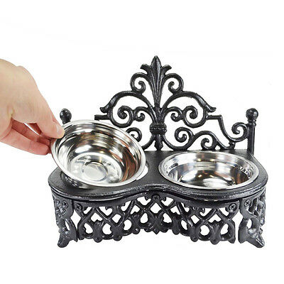CAST IRON ORNATE DOG BOWL Stainless Steel Cat Feeding Double Dish Pet Antique