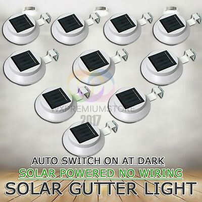 10x 3LED Solar Powered Fence Gutter Light Wall Pathway Lamp Garden Yard White AU
