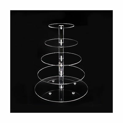 Acrylic Cupcake Stand 5 Tier Display Tower Tree for Stacked Serving Tray ... New