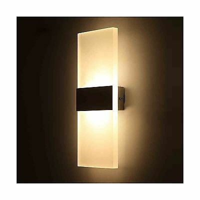Outreo 6W LED Wall Sconces Light Fixture Acrylic Decorative Lamp for Bedr... New