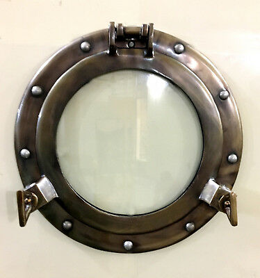 "11"" Maritime Antique Porthole Round Window Glass Nautical Boat Ship Porth Decor"
