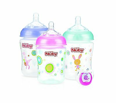 Nuby 53681PBP Natural Touch Bottles with Bonus Pacifier(3Pack) 9 oz Pink ... New
