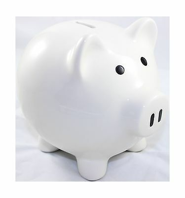 White Piggy Bank Ceramic - porcelain - No hole at bottom - without stoppe... New