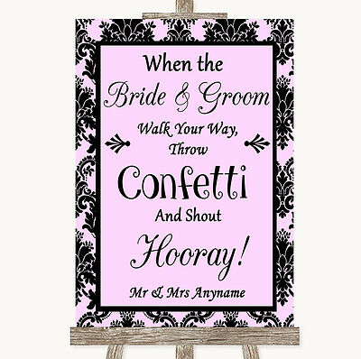 Baby Pink Damask Confetti Personalised Wedding Sign
