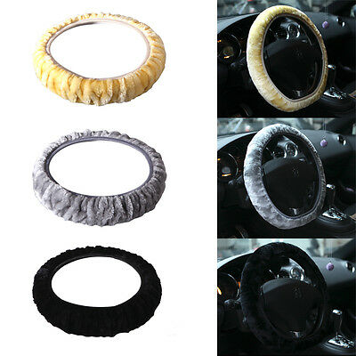 Hot 1Pc Universal Plush Stretch-On Vehicle Car Steering Wheel Cover Protector