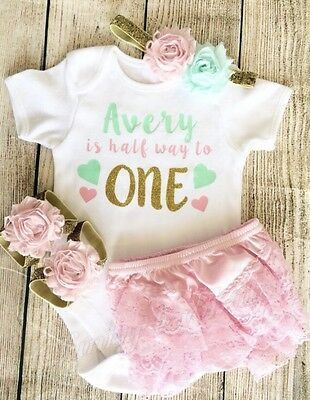 Personalised Half First Birthday Baby Girl Outfit Pink Gold Cake Smash Bloomers