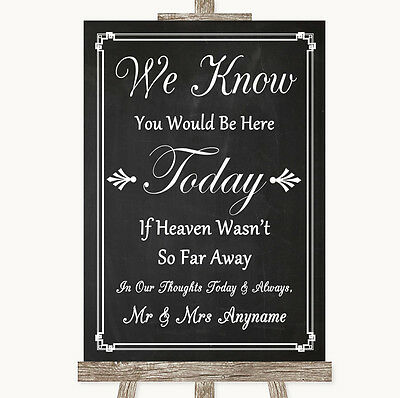 Chalk Style Loved Ones In Heaven Personalised Wedding Sign