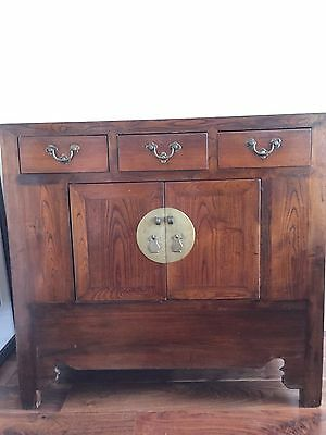 Antique Chinese Cabinet Solid Elm Wood