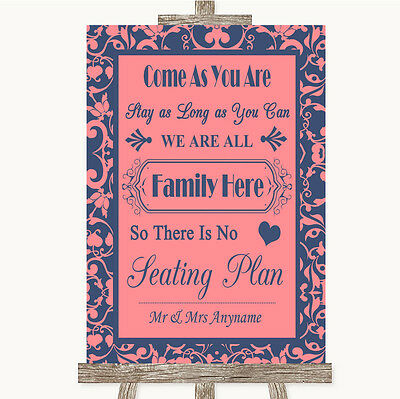 Coral Pink & Blue All Family No Seating Plan Personalised Wedding Sign