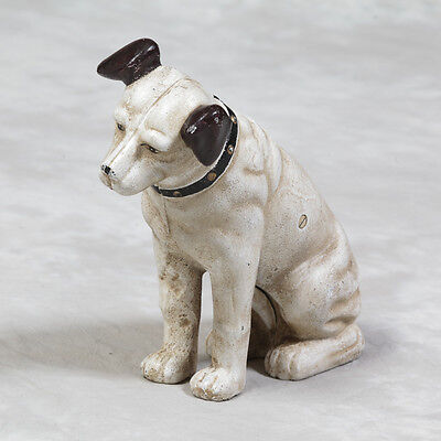 Antiqued Cast Iron Brown & White Terrier Dog Doorstop Nipper His Master's Voice