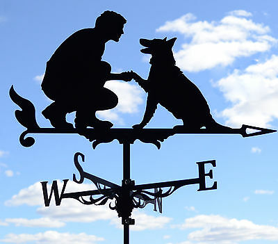 Best friend Metal Weathervane Roof Mount dog and man