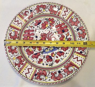 """Vintage 12 5/8"""" Artistica Italian Majolica Red Rooster Wall Plate Hand Painted"""
