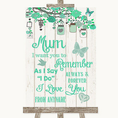 Green Rustic Wood I Love You Message For Mum Personalised Wedding Sign