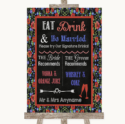 Floral Chalk Signature Favourite Drinks Personalised Wedding Sign