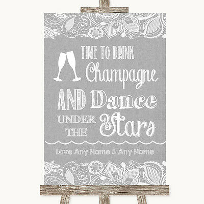 Grey Burlap & Lace Drink Champagne Dance Stars Personalised Wedding Sign