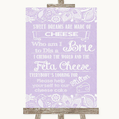 Lilac Burlap & Lace Cheesecake Cheese Song Personalised Wedding Sign