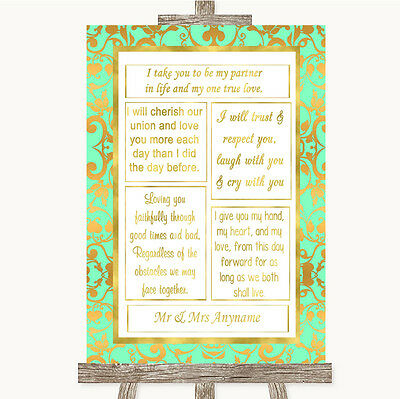 Mint Green & Gold Romantic Vows Personalised Wedding Sign